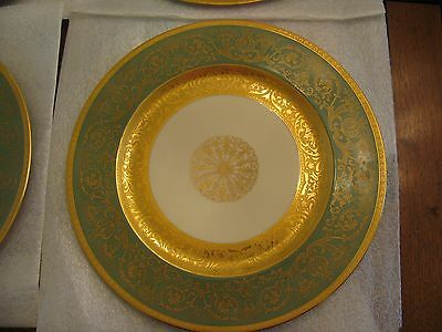 12 Heinrich & Co Gold Encrusted & Green Chargers Dinner Plates