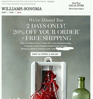Williams-Sonoma  20% off coupon in store or online plus comp ship - exp 3-29-15
