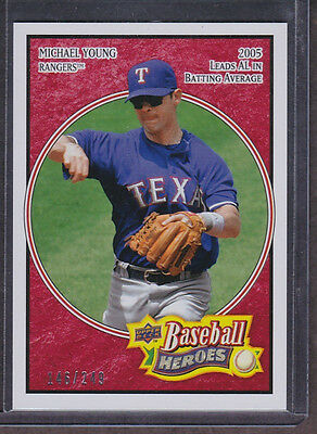 """2008 UD Baseball Heroes - MICHAEL YOUNG - """"Red PARALLEL"""" SP - #d/249 - Rangers"""