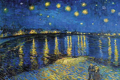 Vincent Van Gogh Starry Night Over The Rhone  Painting Fine Art Re-Print A4