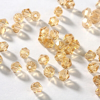 Free DIY jewelry 100pcs 5301 Austria Crystal 3mm bicone Beads Gold Champagne