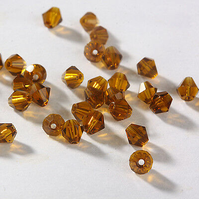 Free Ship DIY jewelry 100pcs 5301 Austria Crystal 3mm bicone Beads Deep amber
