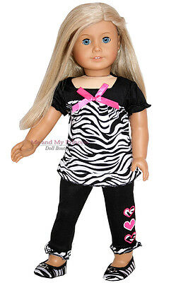 "Zebra Dress TOP + PANTS + ZEBRA SHOES - clothes fits 18"" American Girl Doll Only"