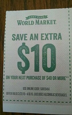 Cost Plus World Market Coupon $10 off $40+ expires 4-6-15