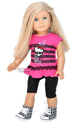 PINK SKULL TOP + LEGGINGS + SNEAKERS outfit Clothes fits American Girl Doll Only