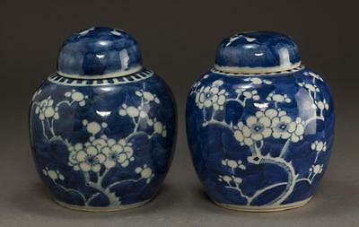 Pair of Chinese Blue and White Vases with Lid Lot 101