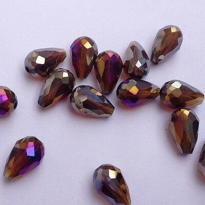 20pcs 8x12mm Teardrop Glass Faceted Loose Crystal Spacer Beads Amber  AB!!