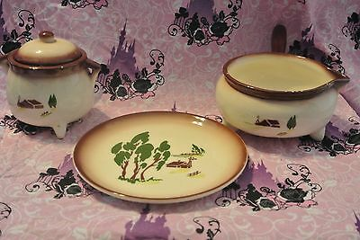 Vintage Brock Of California Sugar Bowl, Soup Bowl And Plate