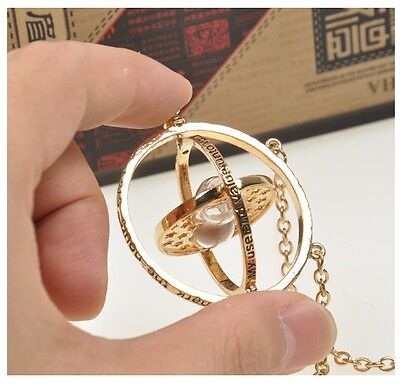 Harry Potter Time Turner Hourglass Necklace Hermione Granger Rotating Spins