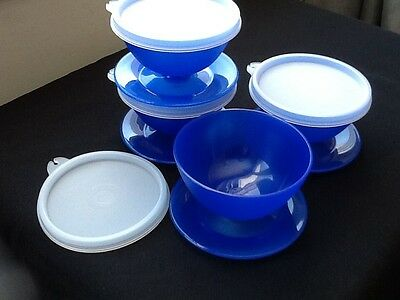 New Set of 4 Tupperware Dessert Dishes ~ Blue ~ Airtight Seals ~ Holds 2/3 Cup