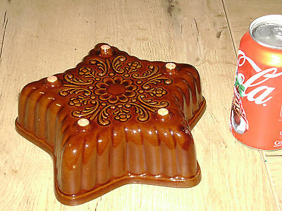 Vtg Ceramic Cake Mold Star Pan Bread decorative West German Pottery wall Flowers