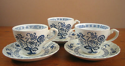 JG Meakin Blue Nordic Onion Classic White Swirl Ironstone 3 Cups Saucers