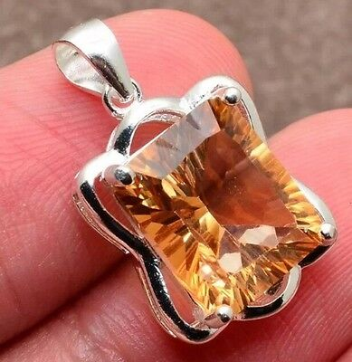 100% SOLID 925 STERLING SILVER FACETED YELLOW TOPAZ GEMSTONE PENDANT 7/8""