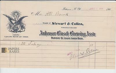 Bought of Stewart & Collins ; Ithaca NY., 1906, Anheuser-Busch Brewing Ass`n;