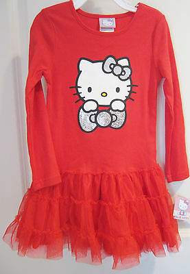 NWT Hello Kitty Girls Bright Red Tutu Dress Size 2T Long Sleeve Cotton Blend