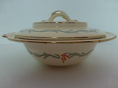Vintage Burleigh Ware Covered Serving Dish Tudor Pattern,Cream, Grey & Orange.