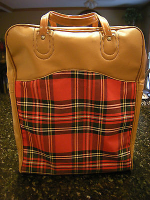Vintage King Seely Red Tan Plaid Zipper Picnic Bag & Two Thermoses & Lunch Box