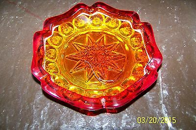 Vintage red / amber ashtray Moon and Stars L.E. Smith Glass 4""