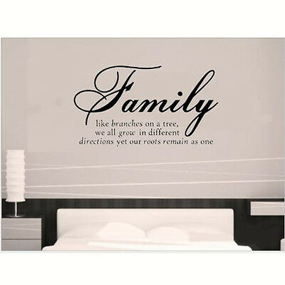 Removable DIY Family Quotes Words Art Vinyl Bedroom Decal Wall Stickers