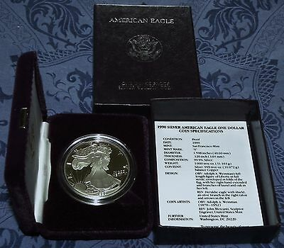 New 1990 S & 1995 P AMERICAN EAGLE SILVER PROOF DOLLARS (BOXES & COAS)