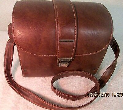 Vintage Italian Faux Leather Camera Carrying Case Bag with Velvet Lining