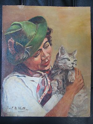 ANTIQUE VINTAGE OIL PAINTING WOMAN CAT SIGNED EUROPEAN GERMAN AUSTRIAN ? OLD VTG