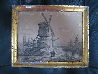 ANTIQUE EUROPEAN MINIATURE ETCHING BRUGES FLEMISH BELGIAN WINDMILL VINTAGE OLD