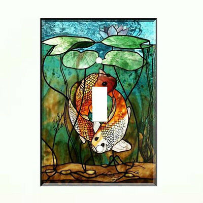 Stained Glass KOI Fish Light Switch Plate Wall Cover