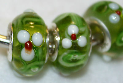2x WHITE FLOWERS GREEN STERLING SILVER MURANO GLASS BEADS LOT W34 FITS CHARM BRC