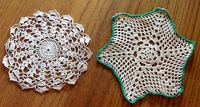 =LOT#P 2 VINTAGE OLD DOILIES CHIC DECOR BEDROOM SHABBY CANDLEMATS LINENS TEXTILE