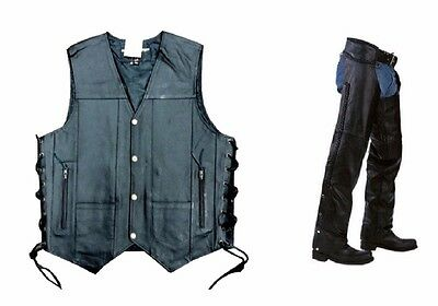 4 Pcs Deal 10 Pockets Leather Motorcycle Vests Motorcycle Chaps