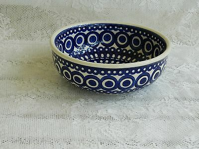 Polish Pottery Cereal, Serving or Dessert Bowl Blue and White Ceramika Wiza NEW