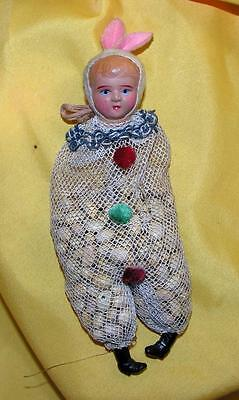 Rare Vtg 1930's  Cotton Mesh Celluloid Girl N Easter Bunny Suit Candy Container