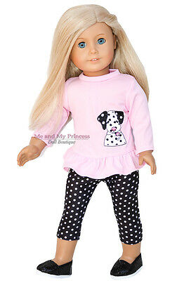 "PINK DOGGIE TOP + DOT LEGGINGS + SHOES clothes fits 18"" American Girl Doll Only"