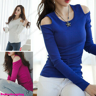 Sexy Slim Womens Off Shoulder Basic Long Sleeve Cub Career Tops T-shirt Blouse