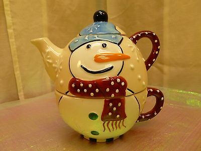 CHRISTMAS/HOLIDAY-3 pc SNOWMAN TEA FOR ONE SET-20 oz TEAPOT-GREAT CONDITION