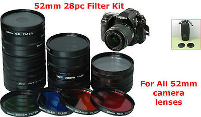 52 Filter 28Pc 52mm LENS KIT fr CAMERA NIKON D3000 FZ10 D5000 D3000 D60 D40 Rig
