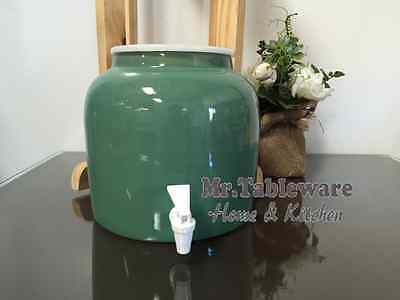 Water Crock Solid Green Porcelain Ceramic Water Dispenser with Tomlinson Faucet