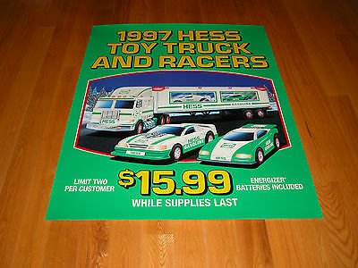 Hess 1997 Toy Truck And Racers Large Vertical Vinyl Poster