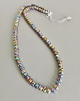 Carnival glass crystal necklace .. sparkle faceted bead aurora AB glam jewellery