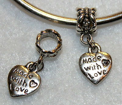 1x MADE WITH LOVE HEART SILVER BEAD LOT T32 FITS MURANO GLASS CHARM BRACELET