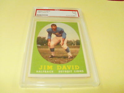 "1958 TOPPS #13 JIM DAVID VINTAGE FOOTBALL CARD PSA ""NM"" ""7"""