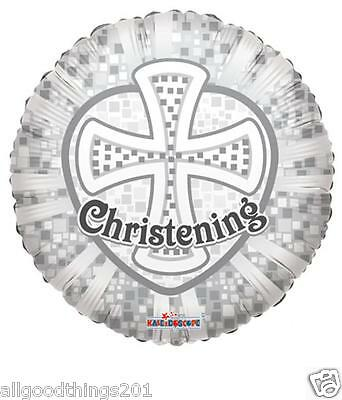 """18"""" Christening Silver Cross Mylar Foil Balloon Party Decorations Baby Gift"""