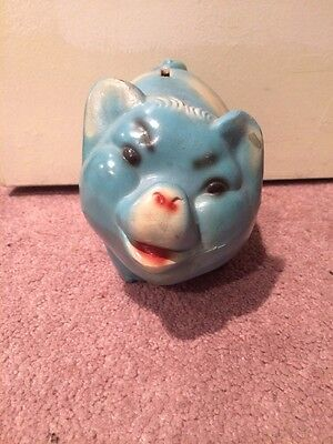 Vintage Large PIG PIGGY BANK Chalkware/Ceramic  HAND PAINTED