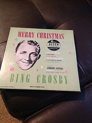 Vintage (1950) Bing Crosby set of Christmas songs on 45 rpm records.