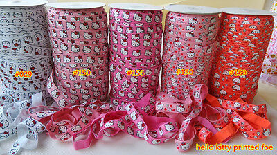 2m of Soft FOLD OVERELASTIC 15mm KITTY FACE Patterned Headband Clothing FOE
