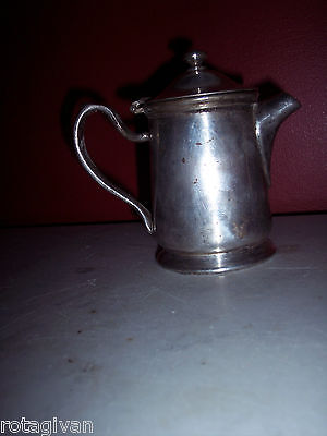 Vintage/Antq nickle silver silver soldered lidded pitcher Grand Silver Co 5 inch