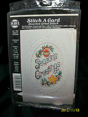 """NMI STITCH A CARD COUNTED CROSS STITCH KIT """"SEASONS GREETINGS"""" 4X6 EMBOSSED CARD"""