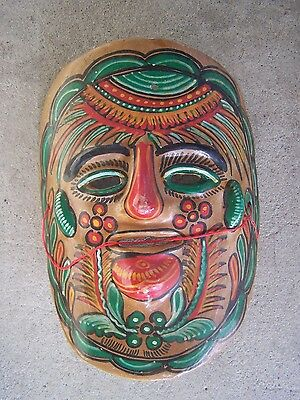 1960s Clay Mask - Painted Green and Red Leaves and Flowers - Mexico
