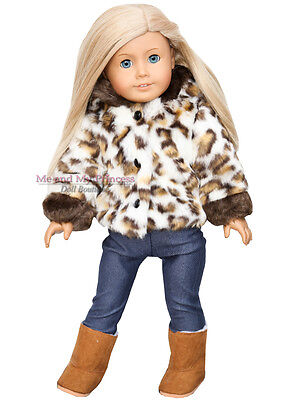 FUR LEOPARD HOODED JACKET + LEGGINGS + BOOTS clothes fit American Girl Doll Only